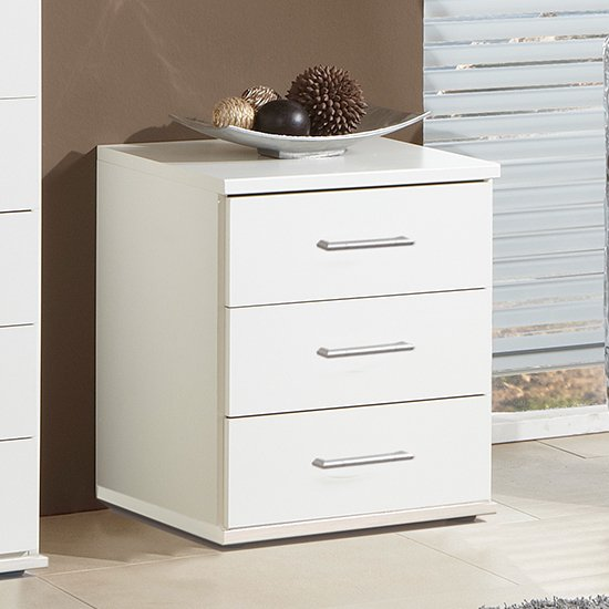Product photograph showing Osaka Wooden Chest Of Drawers In White With 3 Drawers