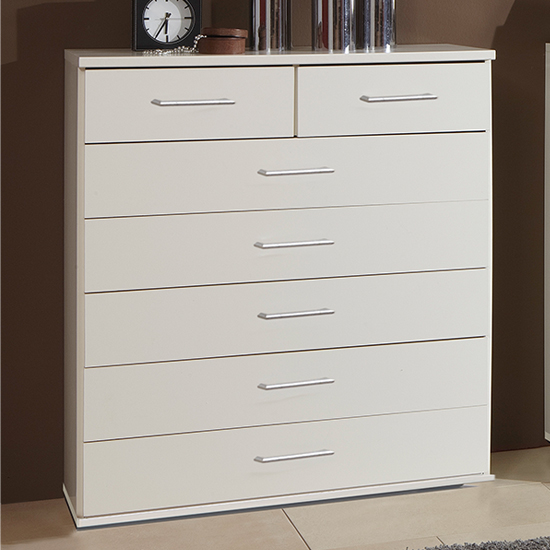 Osaka Wooden Chest Of Drawers In White With 7 Drawers