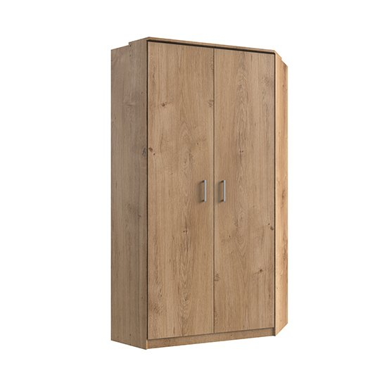Osaka Wooden Corner Wardrobe In Planked Oak
