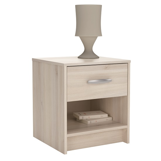 Photo of Osaka modern bedside cabinet in acacia with 1 drawer