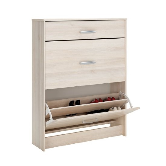 Osaka Shoe Storage Cabinet In Acacia With 2 Flap Doors_2