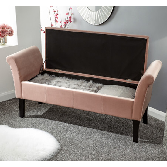 Osbees Fabric Upholstered Window Seat Bench In Pink_2