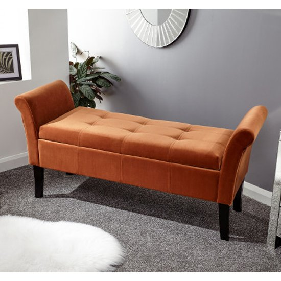Osbees Fabric Upholstered Window Seat Bench In Russet