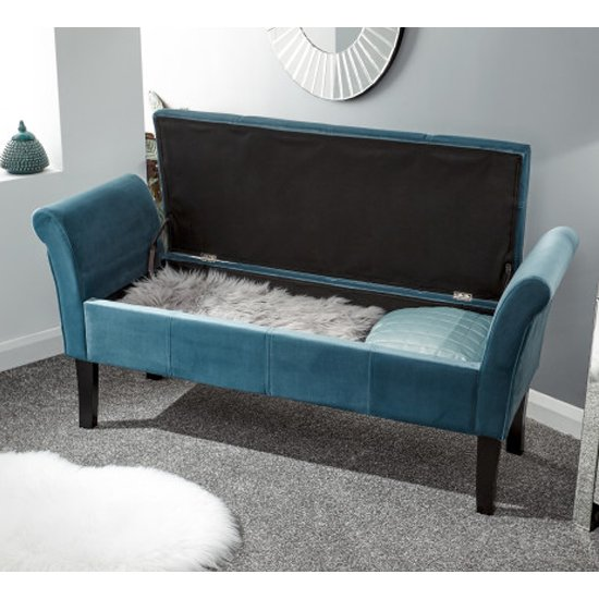 Osbees Fabric Upholstered Window Seat Bench In Teal_2