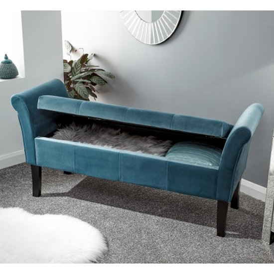 Osbees Fabric Upholstered Window Seat Bench In Teal_3