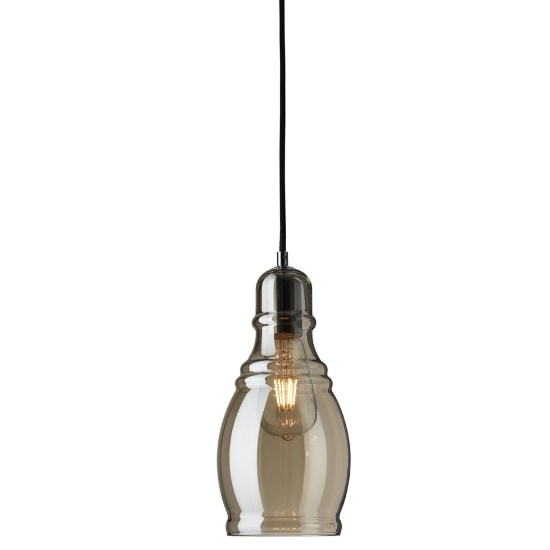 Osborne Ceiling Pendant Light In Amber Glass And Chrome