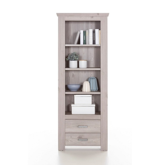 Oscar Wooden Bookcase In Nelson Oak With 2 Drawers