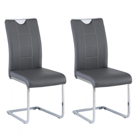 Oscar Grey Faux Leather Dining Chair In A Pair