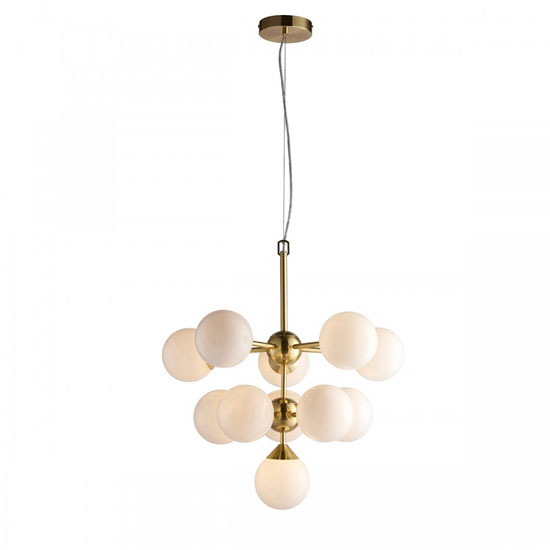 Oscar Wall Hung 11 Pendant Light In Brushed Gold
