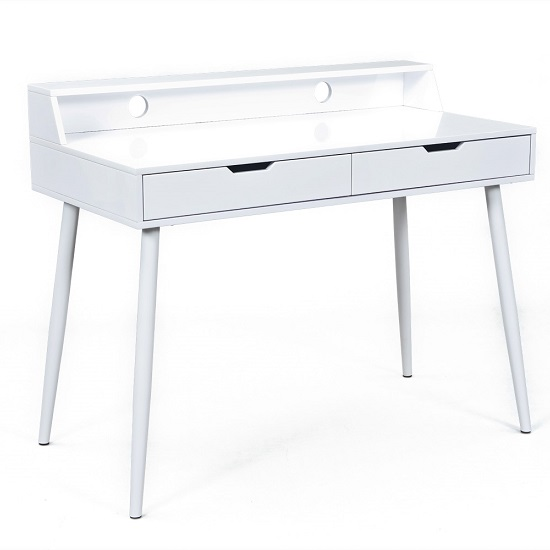 Read more about Oscar computer desk in white high gloss with 2 drawers