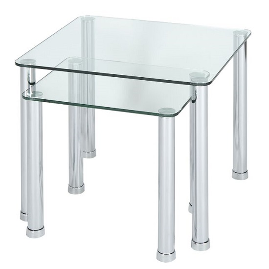 Osian Glass Nesting Tables In Clear With Chrome Legs 27985
