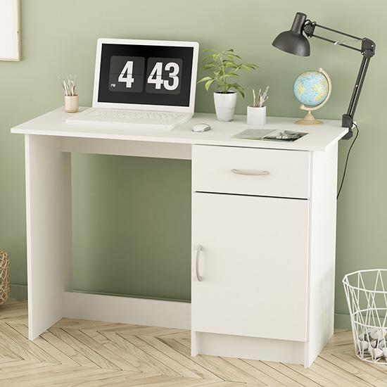 View Osiris wooden laptop desk in matt white with 1 door 1 drawer
