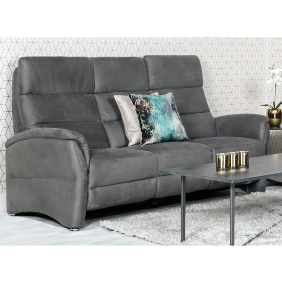 Oslo Fabric Upholstered Electric Recliner 3 Seater Sofa In Grey