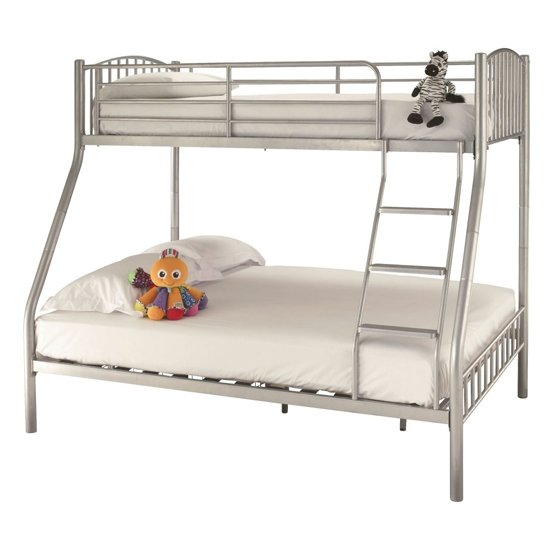 Oslo Metal Double Bunk Bed In Silver