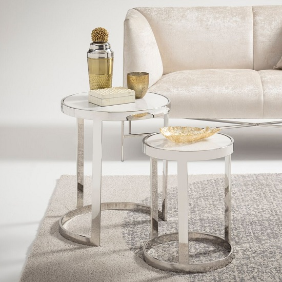 Oslo Marble Effect 2 Nesting Tables In White With Steel Base