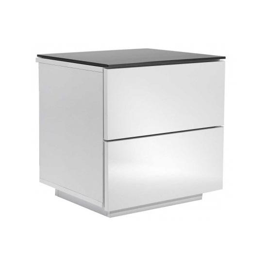 Oslo High Gloss Black White Modular Storage Unit With Glass Top