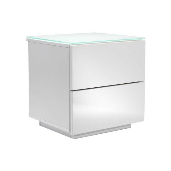 Oslo High Gloss White Modular Storage Unit With Glass Top