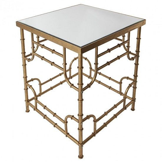 oslo mirrored side table square in bamboo effect gold 28225. Black Bedroom Furniture Sets. Home Design Ideas