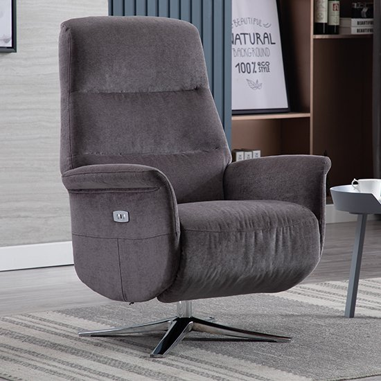 View Osterley fabric electric swivel recliner chair in flint