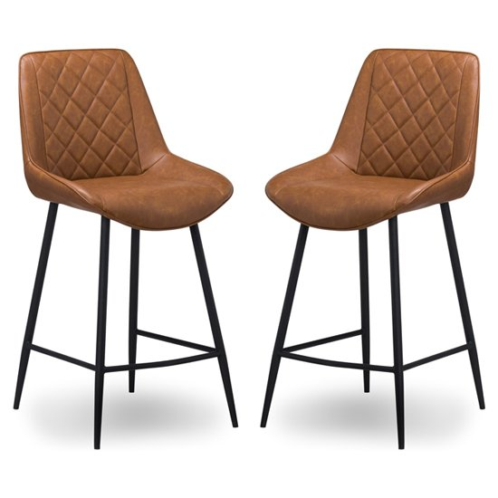 Oston Tan Faux Leather Bar Stools In Pair