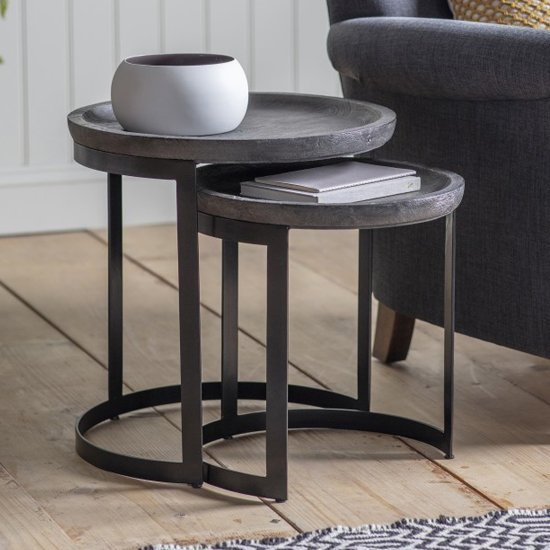 Otika Round Wooden Nest Of 2 Tables In Grey Oak_1