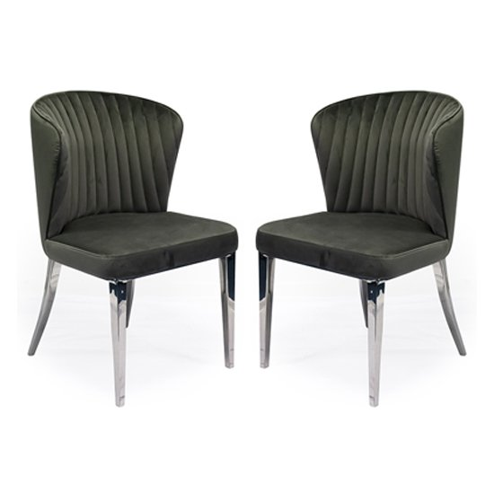 Ottavia Grey Velvet Fabric Dining Chair In Pair
