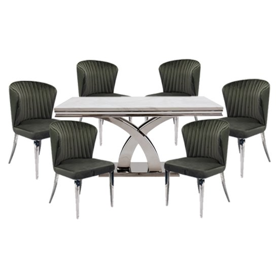 View Ottavia large marble dining table in bone white with 6 chairs