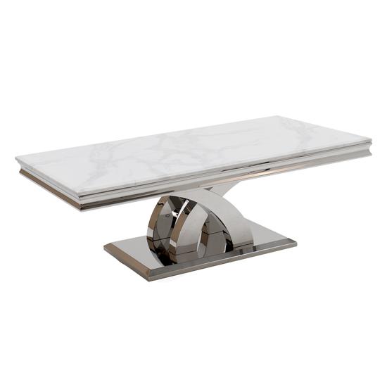 View Ottavia marble coffee table in bone white