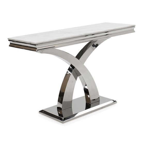 Ottavia Marble Console Table In Bone White