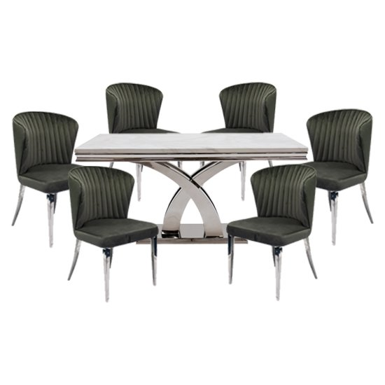 View Ottavia medium marble dining table in bone white with 6 chairs