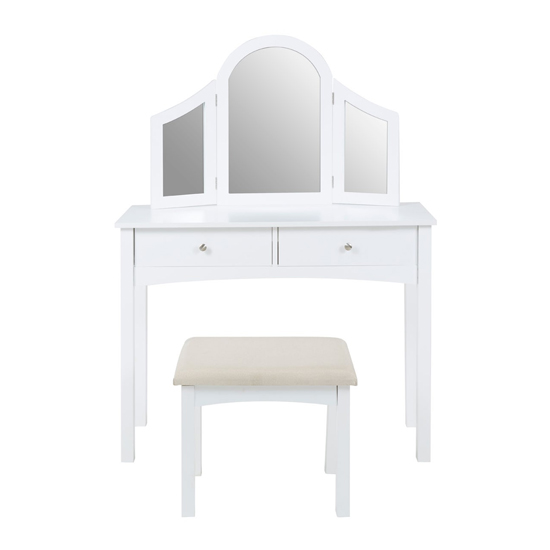 Maasym Wooden Dressing Table And Stool In White