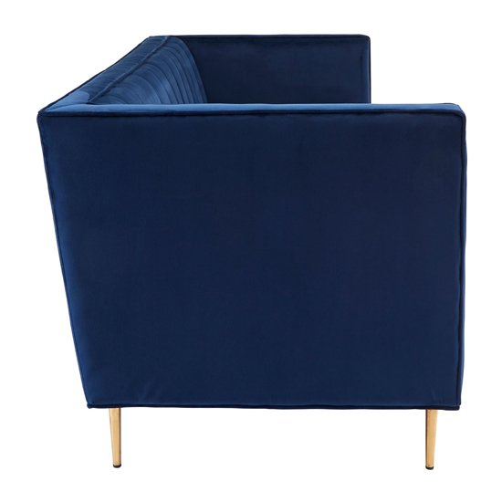 Otylia Velvet 3 Seater Sofa In Deep Blue_3