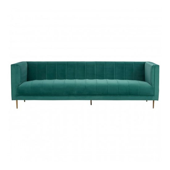 Otyliya 3 Seater Velvet Sofa In Green