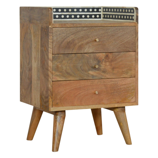 Ouzel Wooden Bedside Cabinet In Bone Inlay Gallery Back And Oak