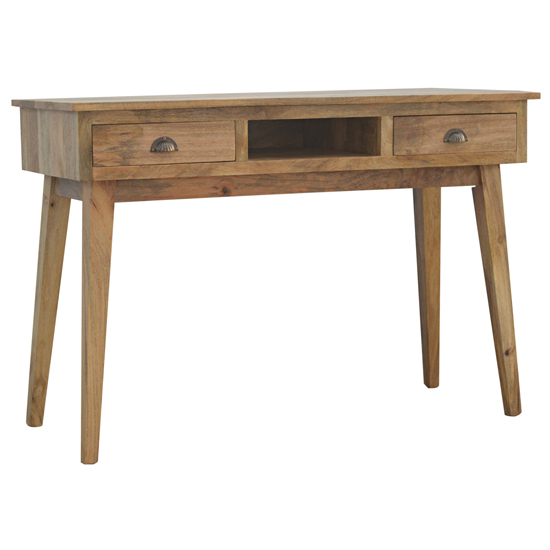 View Ouzel wooden study desk in oak ish with 2 drawers