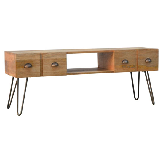 Ouzel Wooden TV Stand In Oak Ish With Iron Base
