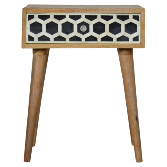 Ouzo Wooden Bedside Cabinet In Bone Inlay And Oak With 1 Drawer_2