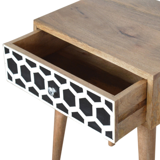 Ouzo Wooden Bedside Cabinet In Bone Inlay And Oak With 1 Drawer_3