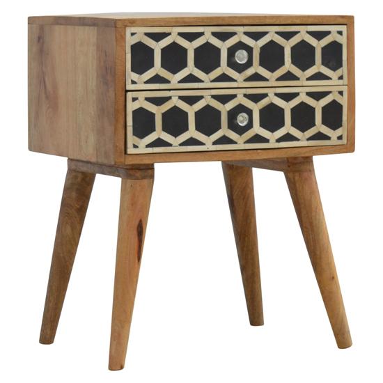 View Ouzo wooden bedside cabinet in bone inlay and oak with 2 drawers