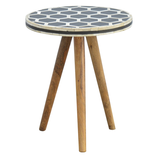 Ouzo Wooden Side Table In Bone Inlay