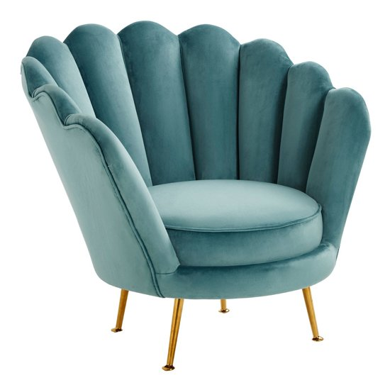 Ovaley Scalloped Plush Velvet Accent Chair In Blue