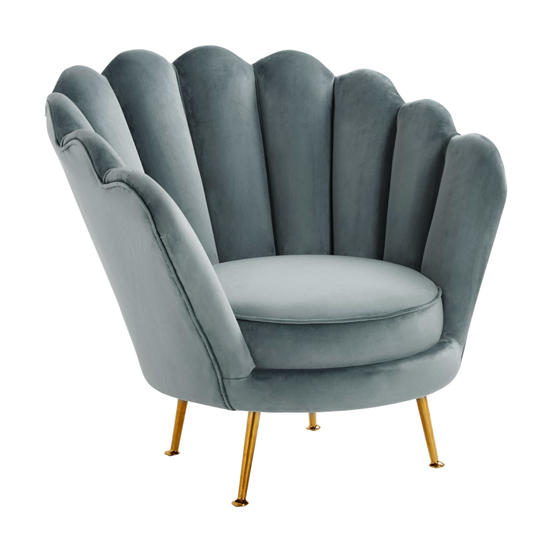Ovaley Scalloped Plush Velvet Accent Chair In Light Blue
