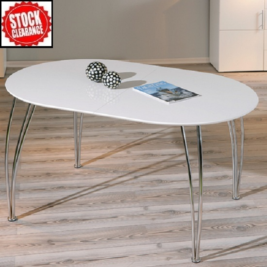 Buy modern extendable dining table and chairs furniture - Table basse ovale blanc laque ...