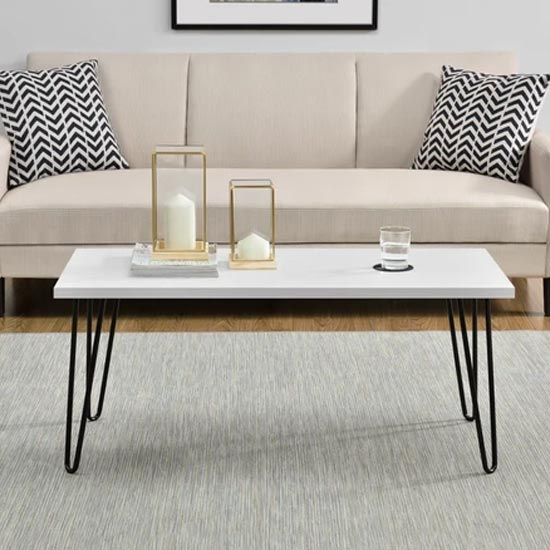 Owen Wooden Retro Coffee Table In White