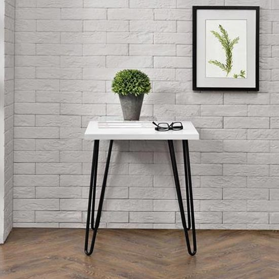 Owen Wooden Retro End Table In White
