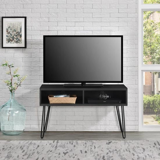 Owen Wooden Retro TV Stand In Black Oak
