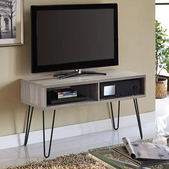 Owen Wooden Retro TV Stand In Distressed Grey Oak