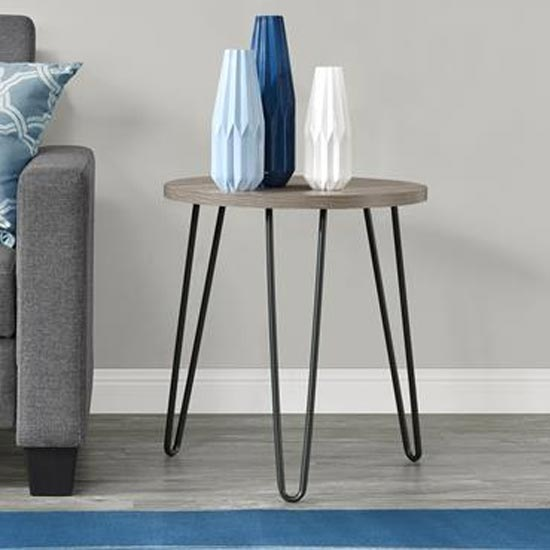 Owen Wooden Round End Table In Distressed Grey Oak_2
