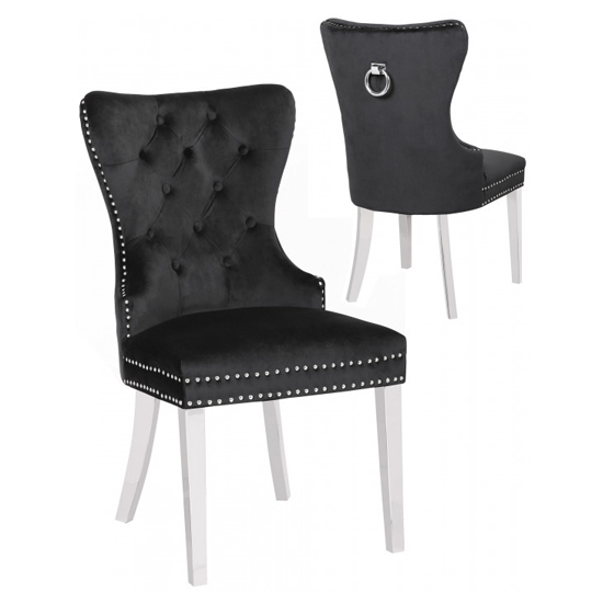 Oxford Black Velvet Dining Chairs In Pair
