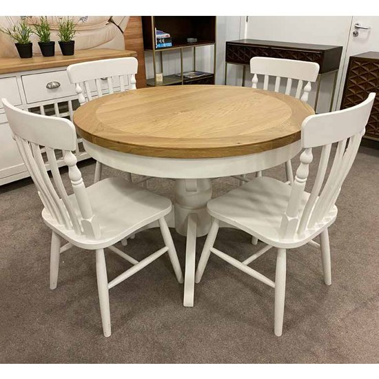 View Oxford round extending dining set with 4 chairs